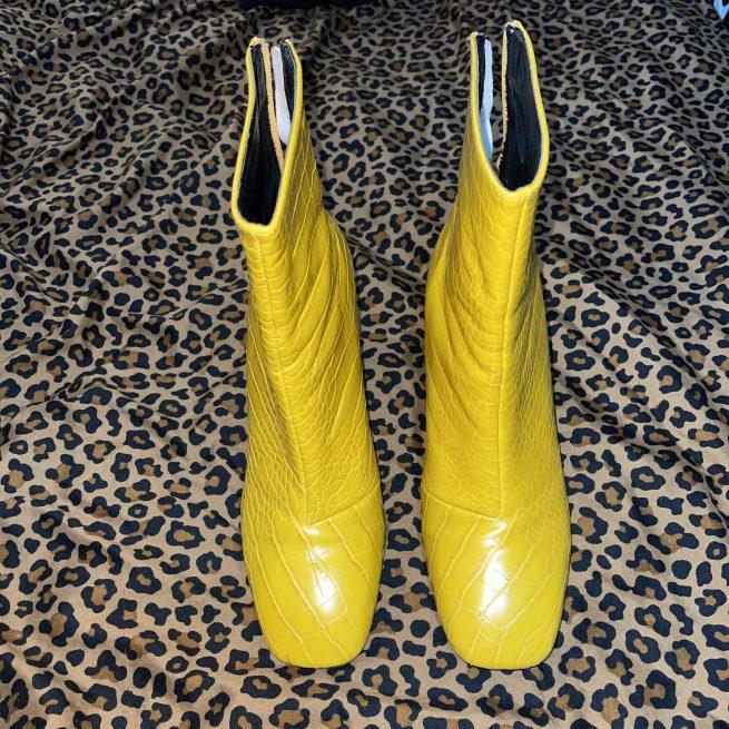 yellow croc booties
